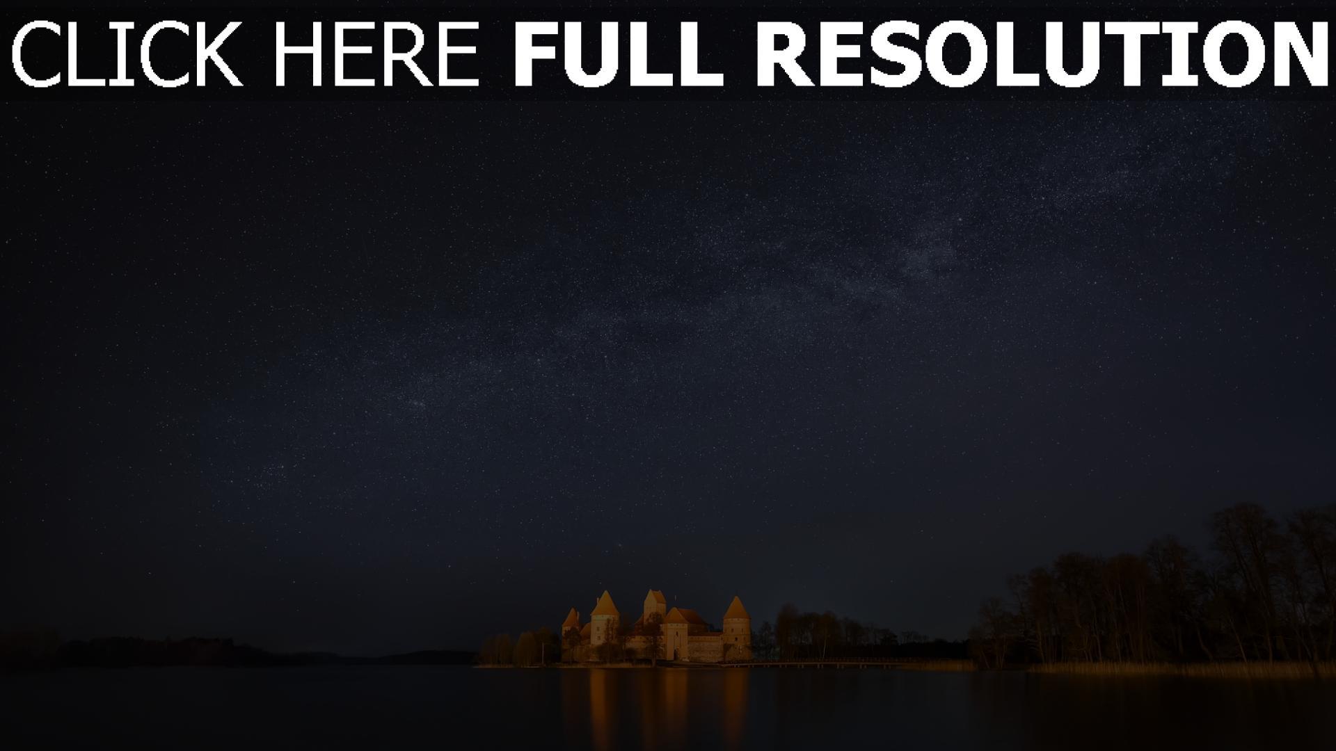 hd hintergrundbilder see schloss himmel sterne nacht 1920x1080