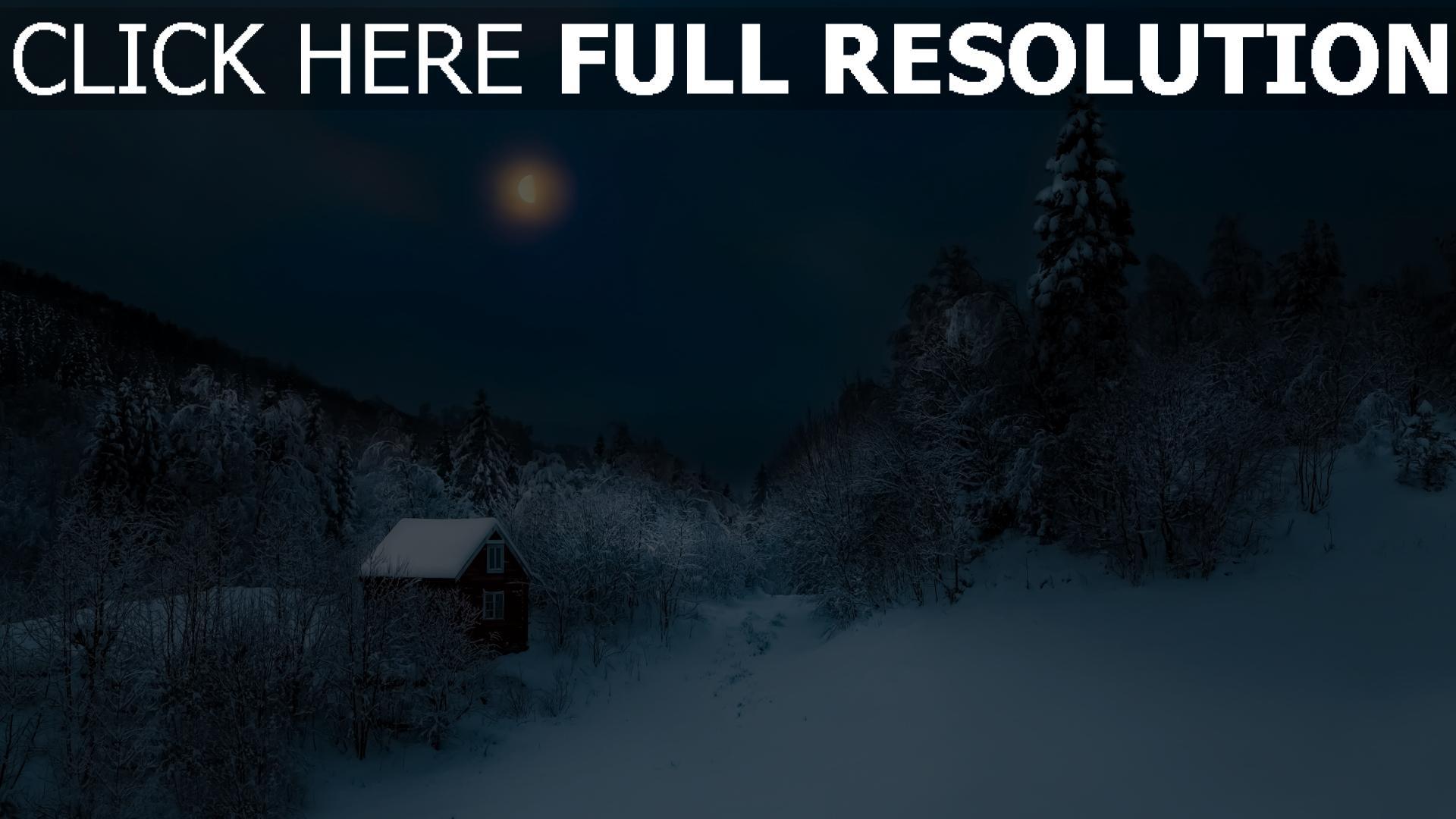hd hintergrundbilder schnee winter haus wald bäume mond 1920x1080
