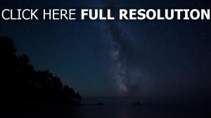 sterne himmel meer milchstraße bäume