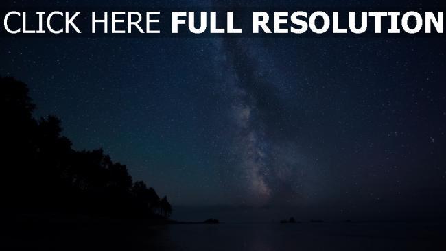 hd hintergrundbilder sterne himmel meer milchstraße bäume