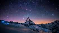 berg gipfel himmel sterne schnee shine