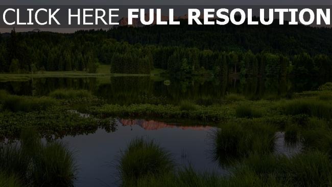 hd hintergrundbilder sommer berge natur bäume wasser teich