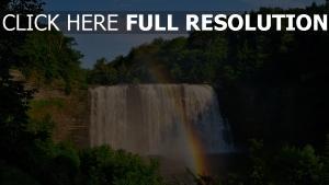 regenbogen wasserfall kaskade wasser wald