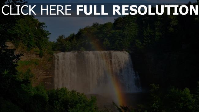 hd hintergrundbilder regenbogen wasserfall kaskade wasser wald