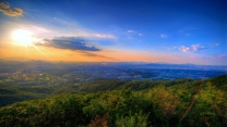 sonnenuntergang himmel gebirge horizont panorama
