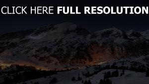nacht berge licht häuser himmel winter