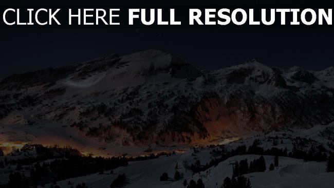 hd hintergrundbilder nacht berge licht häuser himmel winter