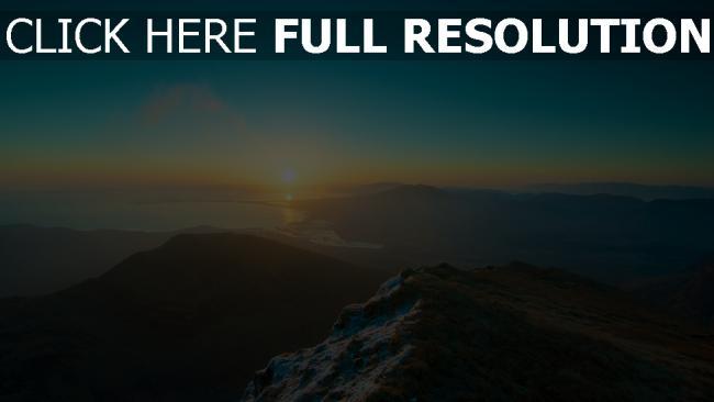 hd hintergrundbilder berge sonnenaufgang sonne licht wasser bucht