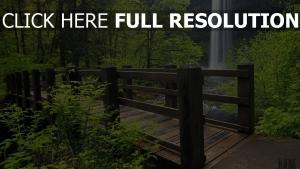 brücke bäume wasserfall wasser wald