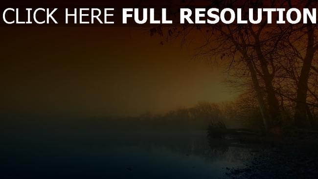 hd hintergrundbilder bäume nebel nacht sonnenuntergang fluss