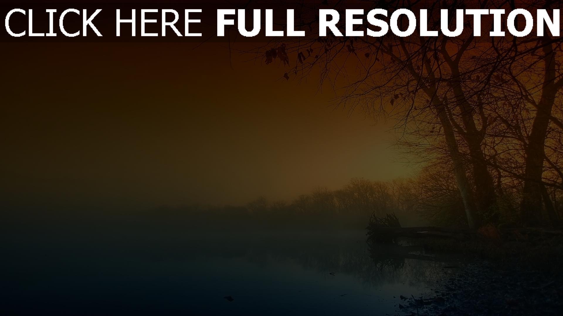herunterladen 1920x1080 full hd hintergrundbilder b u00e4ume nebel nacht sonnenuntergang fluss 1080p