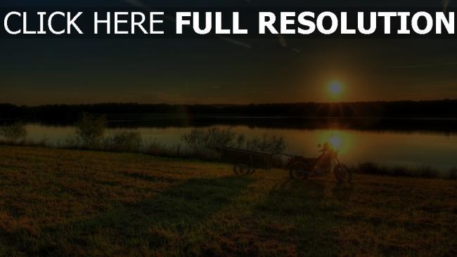 hd hintergrundbilder fluss gras strand sonnenuntergang fahrrad