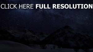 berge schnee winter himmel sterne nacht