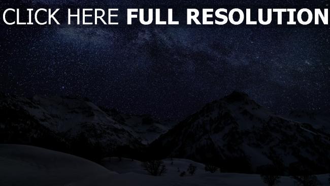 hd hintergrundbilder berge schnee winter himmel sterne nacht