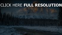winter wald kiefer fluss gebirge fels