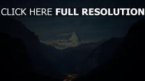 felsen berge tal nacht sterne
