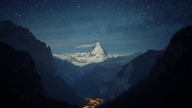 hd hintergrundbilder felsen berge tal nacht sterne