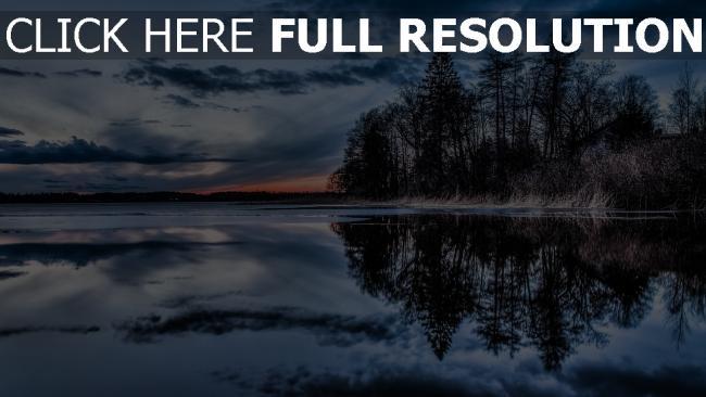 hd hintergrundbilder bäume wasser abend himmel spiegelung