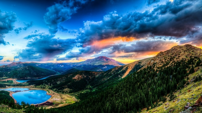 hd hintergrundbilder gebirge wald himmel wolken see tal