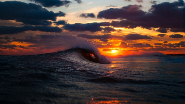 hd hintergrundbilder sonnenuntergang meer wellen wolken sonne