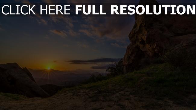 hd hintergrundbilder sonnenuntergang sonne strahlen berge höhe