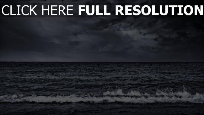 hd hintergrundbilder meer bedeckter himmel wolken sturm surfen