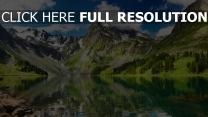 see berge reflexion wasser landschaft