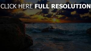 meer wellen sonne sonnenuntergang stein
