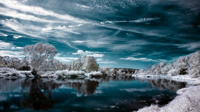 hd hintergrundbilder winter see reflexion himmel frost