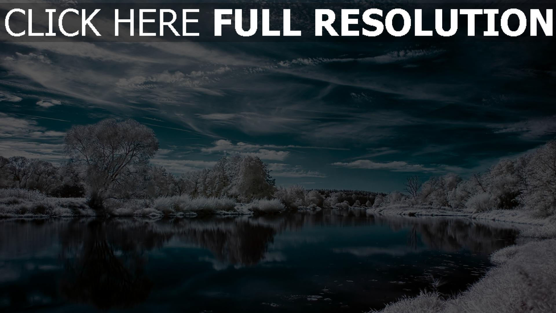 hd hintergrundbilder winter see reflexion himmel frost 1920x1080