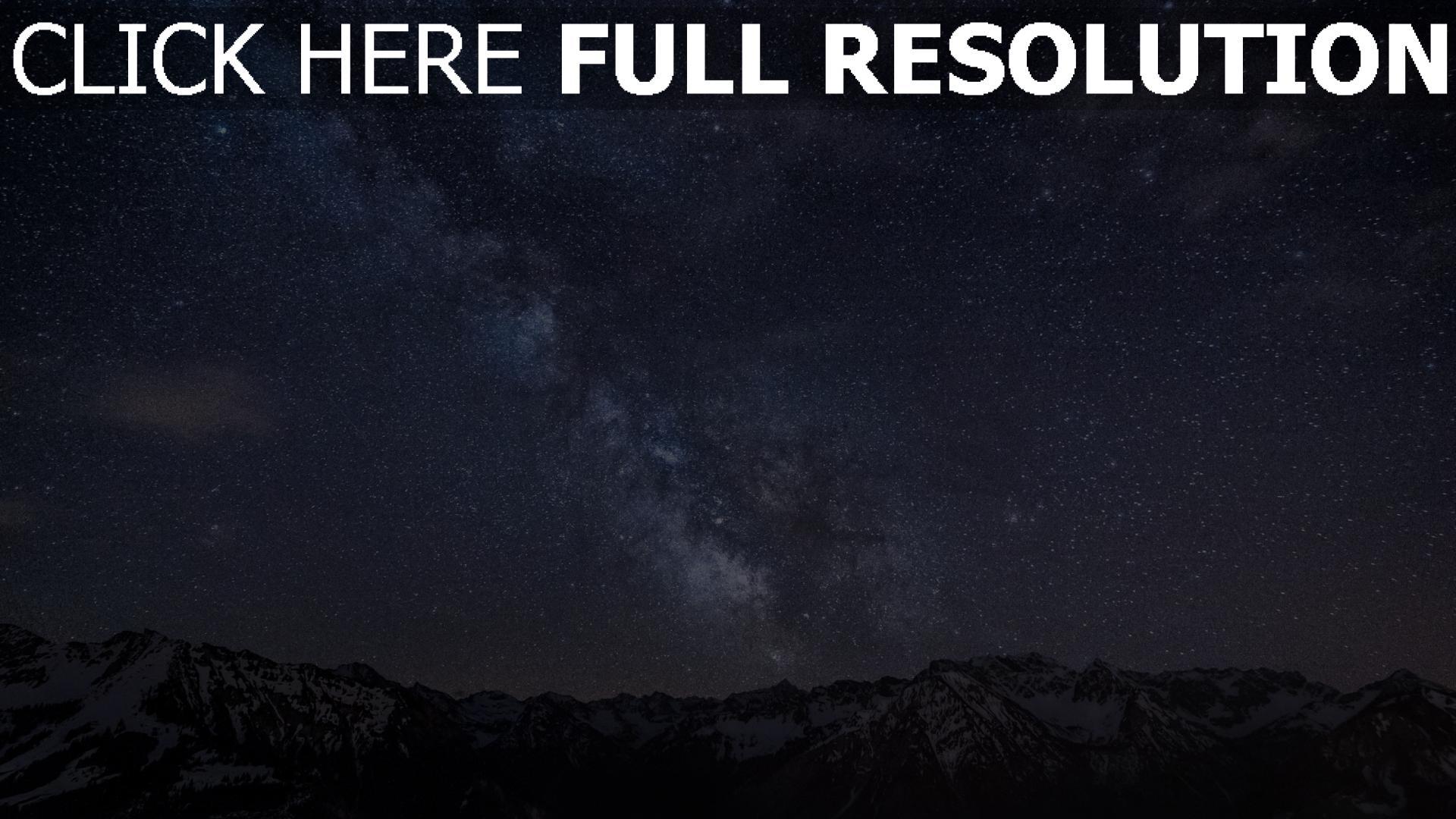 hd hintergrundbilder gebirge nachthimmel sterne milchstraße 1920x1080