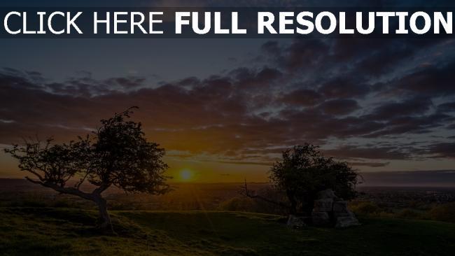 hd hintergrundbilder sonnenuntergang bäume felsen landschaft skyline