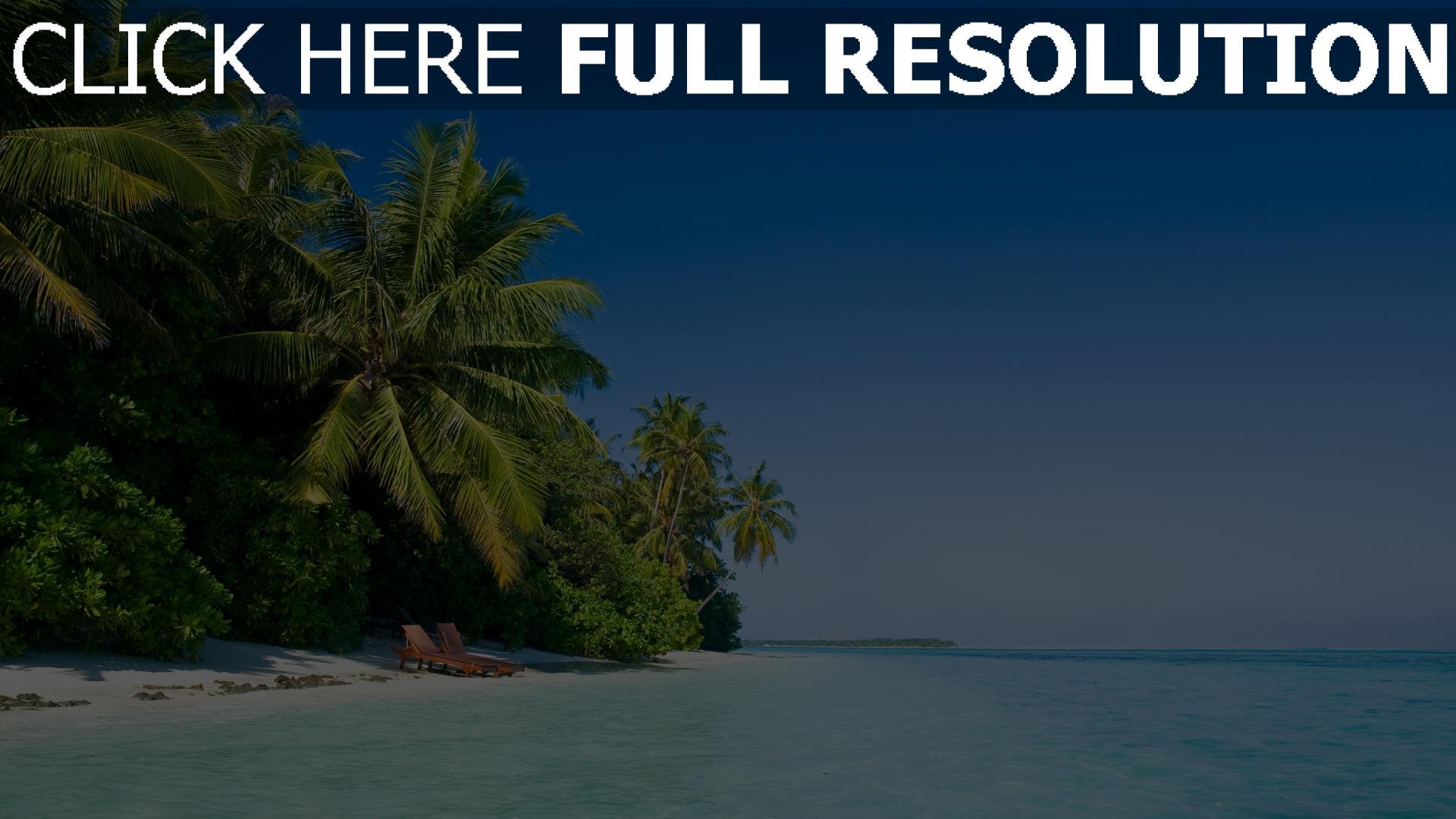 hd hintergrundbilder meer wasser blau palme bäume strand 1920x1080