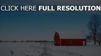 scheune feld schnee winter himmel