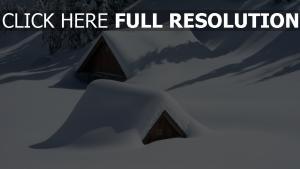 schnee dächer häuser bäume winter berge