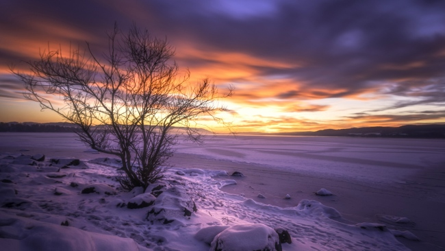 hd hintergrundbilder winter see schnee strauch himmel sonnenuntergang norwegen