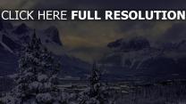 berge schnee wald bäume dunst wolken kanada