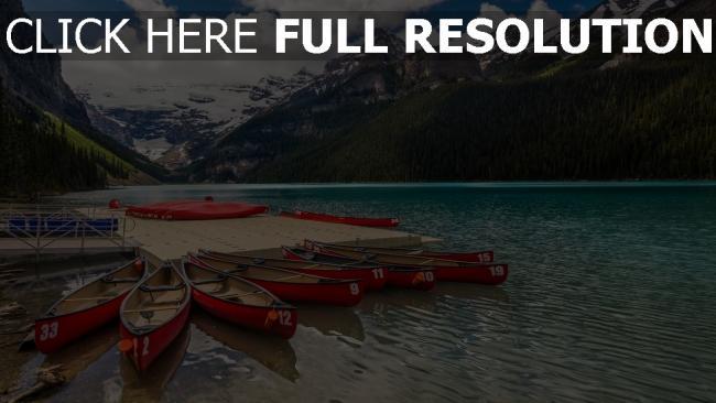 hd hintergrundbilder see berge boote kanada