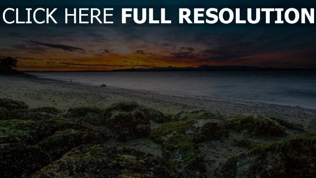hd hintergrundbilder strand felsen moos horizont sonnenuntergang himmel