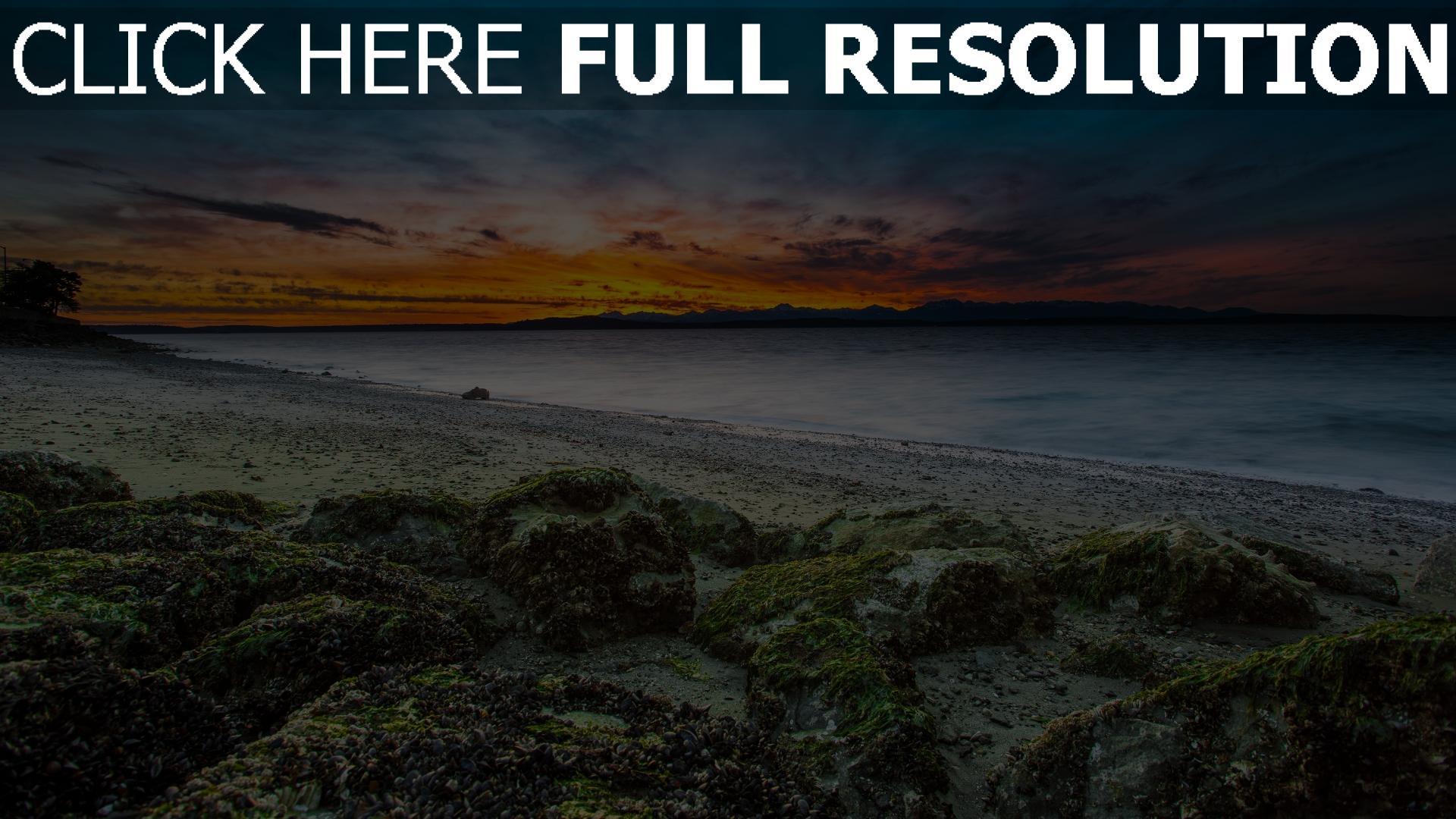 Hd hintergrundbilder strand felsen moos horizont for Image nature hd gratuit