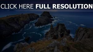 steine felsen meer bucht tal horizont irland