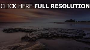 strand schloss meer himmel sonnenuntergang england northumberland