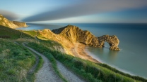meer bucht felsen bogen strand england