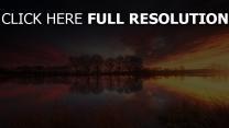 see sonnenuntergang bäume reflexion wasser wolke