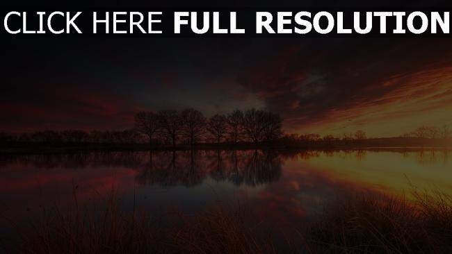 hd hintergrundbilder see sonnenuntergang bäume reflexion wasser wolke