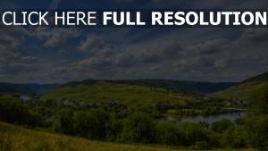 fluss hügel himmel wolken sommer gras deutschlandriver