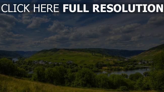 hd hintergrundbilder fluss hügel himmel wolken sommer gras deutschlandriver