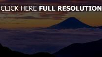berge nebel wolken sonnenuntergang fuji japan