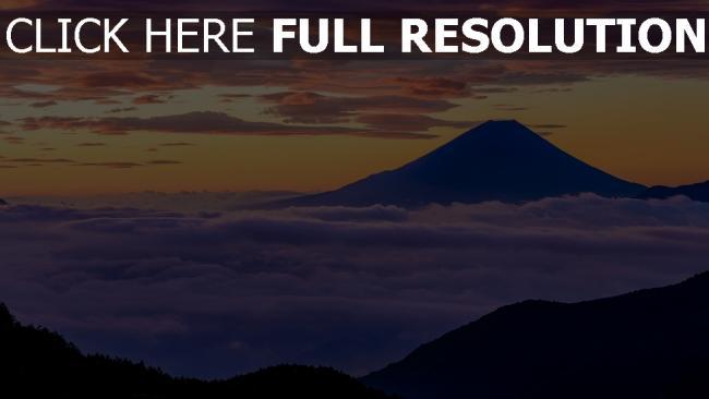 hd hintergrundbilder berge nebel wolken sonnenuntergang fuji japan