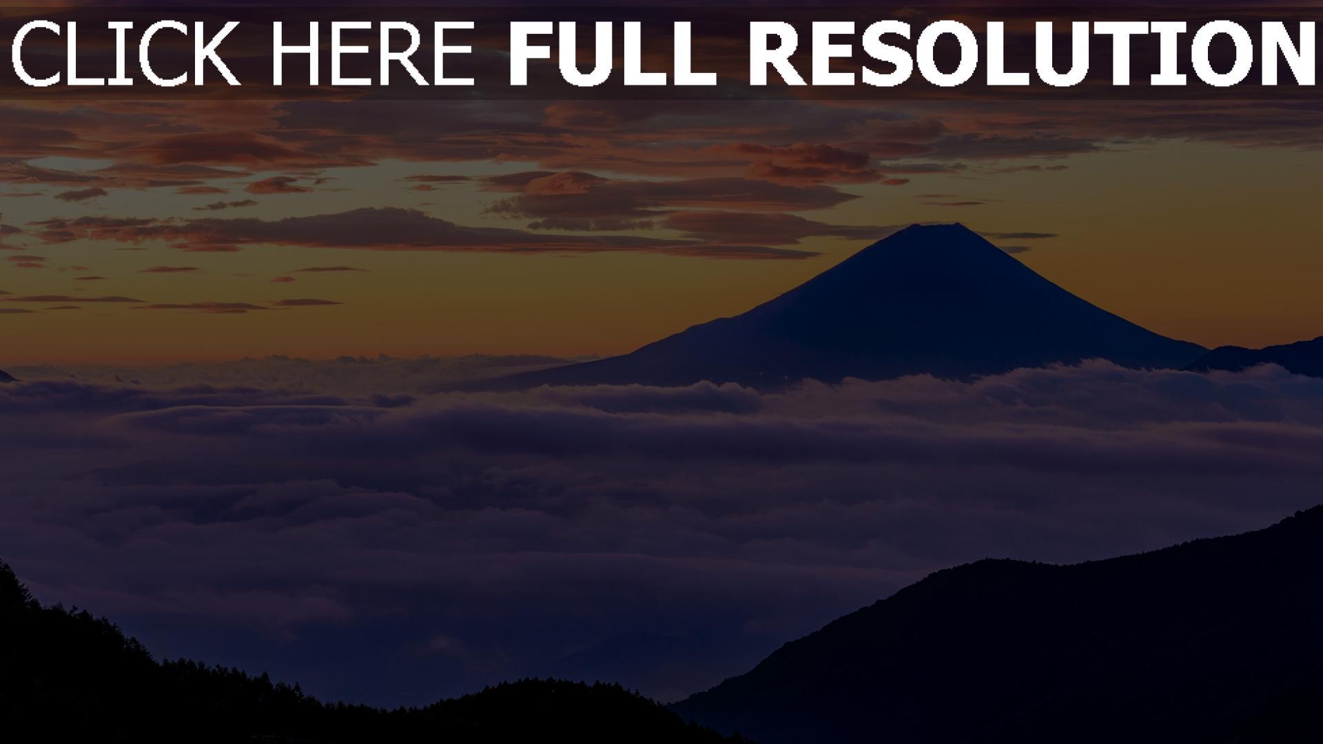 hd hintergrundbilder berge nebel wolken sonnenuntergang fuji japan 1920x1080